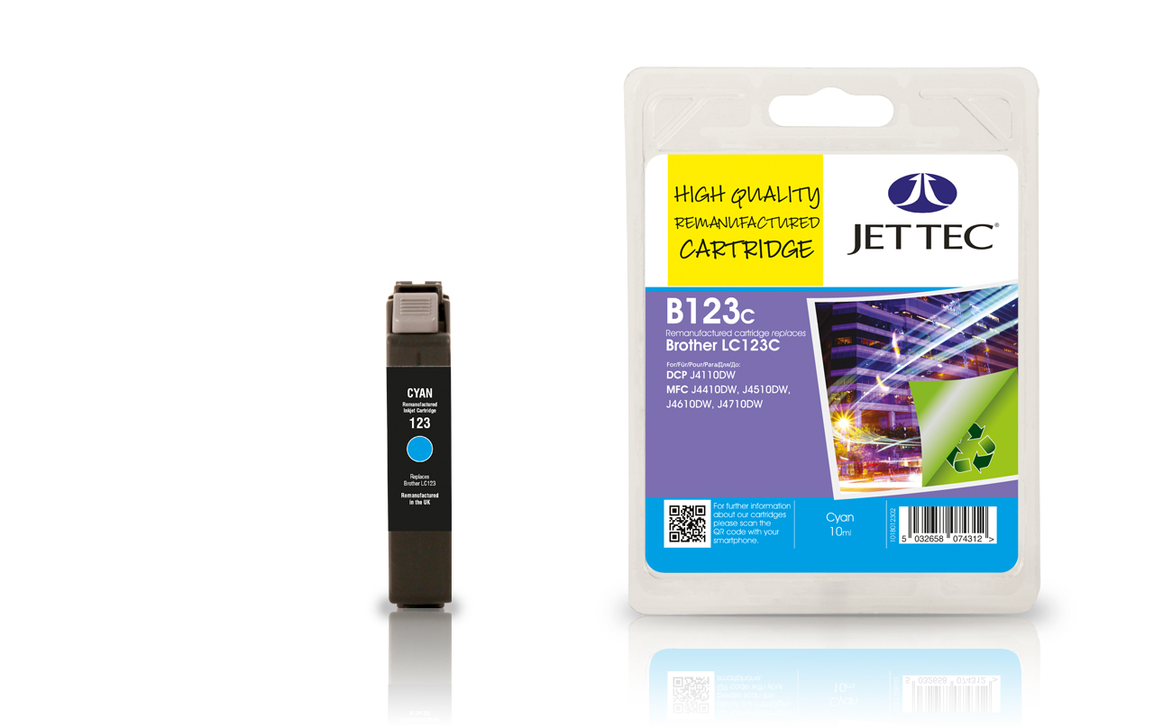 Jet Tec B123C remanufactured Brother LC123C cyan ink cartridges