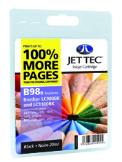 Jet Tec B98B black compatible Brother LC980/LC1100 inkjet cartridges