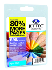 Jet Tec B98C cyan compatible Brother LC980/LC1100 inkjet cartridges