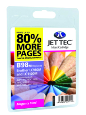 Jet Tec B98M magenta compatible Brother LC980/LC1100 inkjet cartridges