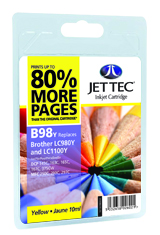 Jet Tec B98Y yellow compatible Brother LC980/LC1100 inkjet cartridges