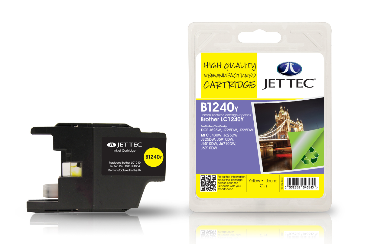 Jet Tec B1240Y Remanufactured Brother LC1240 Yellow Ink Cartridges