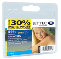 Jet Tec E44C cyan compatible Epson T0442 inkjet printer cartridges