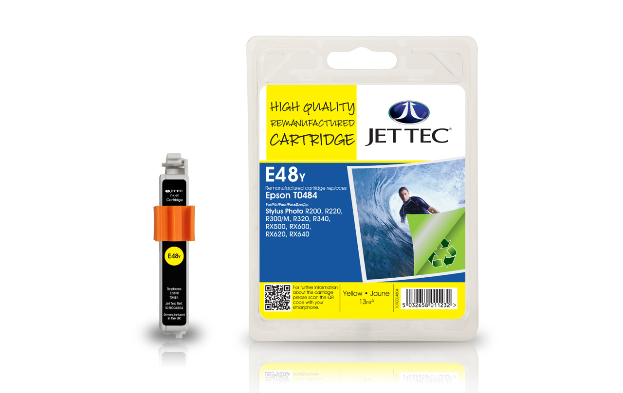 Jet Tec E48Y yellow remanufactured Epson T0484 printer ink cartridges