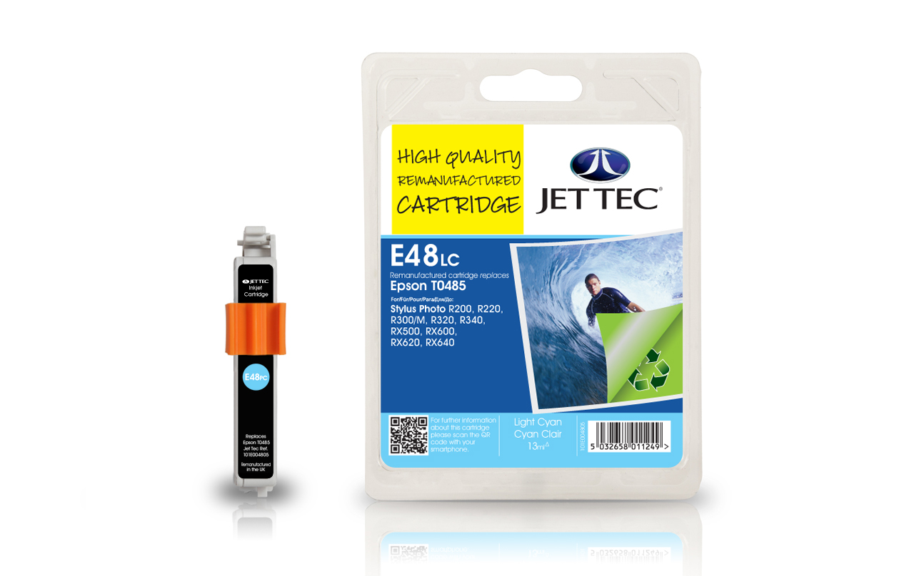 Jet Tec E48LC light cyan remanufactured Epson T0485 inkjet cartridges
