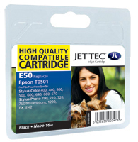 Jet Tec E50 compatible Epson T050 black ink printer cartridges