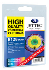 Jet Tec E128MP remanufactured Epson T1285 inkjet printer cartridges