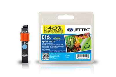 Jet Tec E16CXL remanufactured cyan Epson T1622 inkjet printer cartridges