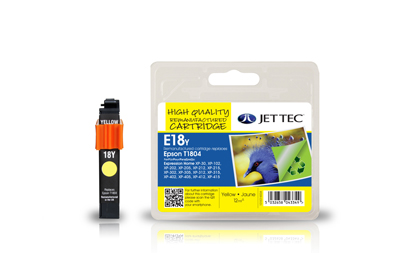 Jet Tec E18Y remanufactured yellow Epson T1804 ink printer cartridges