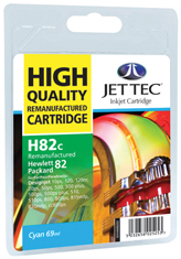 Jet Tec H82C remanufactured cyan HP82 C4911A inkjet printer cartridge
