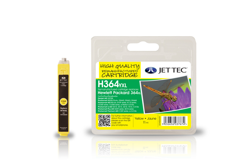 Jet Tec H364YXL remanufactured yellow HP364 CB325EE ink cartridges