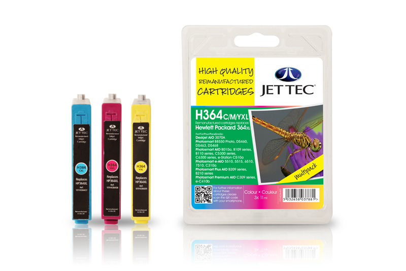 Jet Tec H364CMYXL remanufactured HP364 inkjet printer cartridges