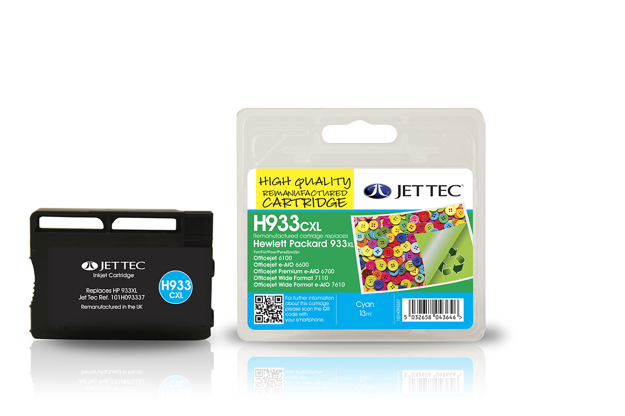Jet Tec H933CXL remanufactured HP933XL CN054AE cyan ink cartridges