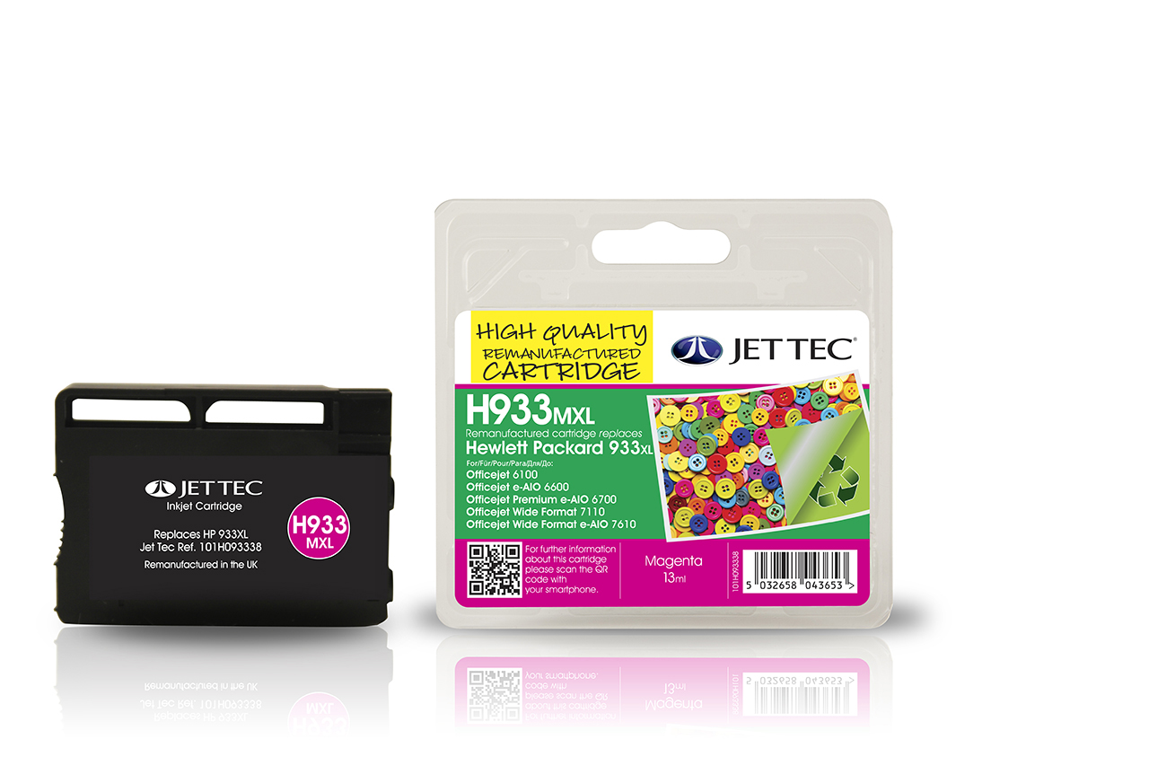 Jet Tec H933MXL remanufactured HP933XL CN055AE magenta ink cartridges
