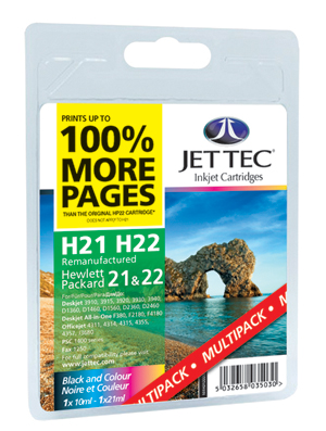 Jet Tec H21 & H22 remanufactured HP21 & HP22 inkjet printer cartridges