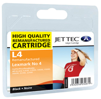 Jet Tec L4 remanufactured black Lexmark No4 18C1974E inkjet cartridges