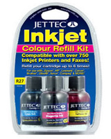 Jet Tec R27 all purpose colour inkjet printer cartridges refill Kits