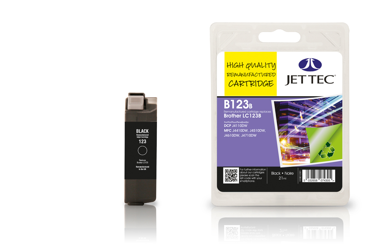 Jet Tec B123B remanufactured Brother LC123BK black ink cartridges
