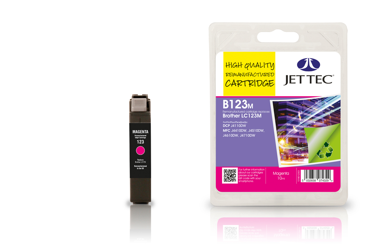 Jet Tec B123M remanufactured Brother LC123M magenta ink cartridges