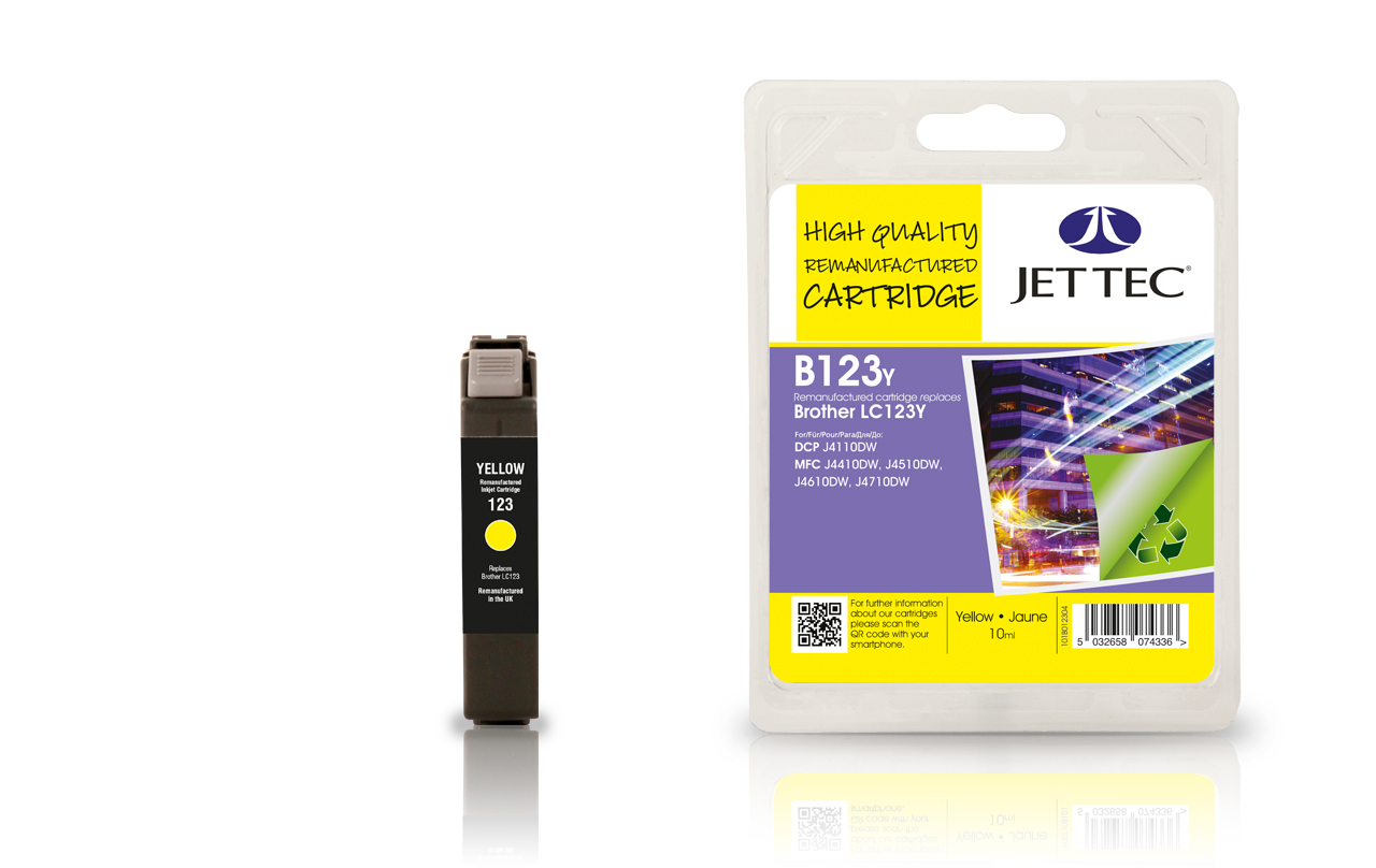 Jet Tec B123Y remanufactured Brother LC123Y yellow ink cartridges