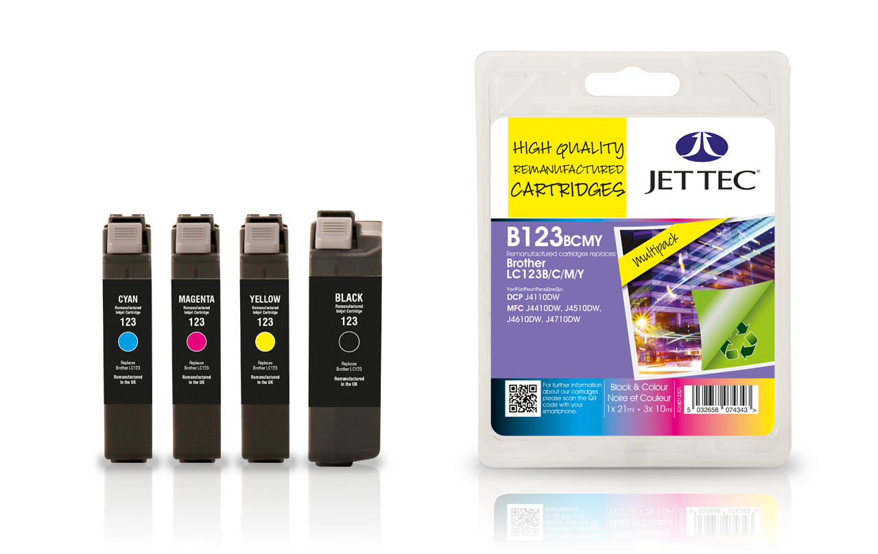 Jet Tec B123MP remanufactured Brother LC123 multipack ink cartridges