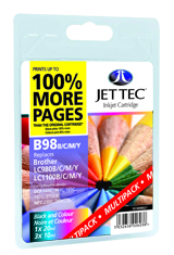 Jet Tec B98BCMY multipack Brother LC980/LC1100 printer ink cartridges