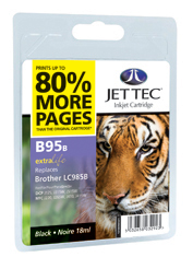 Jet Tec B95B black compatible Brother LC985 printer ink cartridges