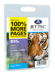Jet Tec B95C cyan compatible Brother LC985 printer ink cartridges