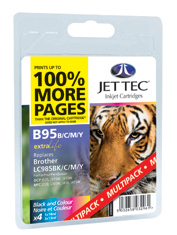 Jet Tec B95MP black/cyan/magenta/yellow Brother LC985 ink cartridges