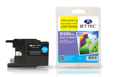 Jet Tec B1280C Remanufactured Brother LC1280XL Cyan Ink Cartridges