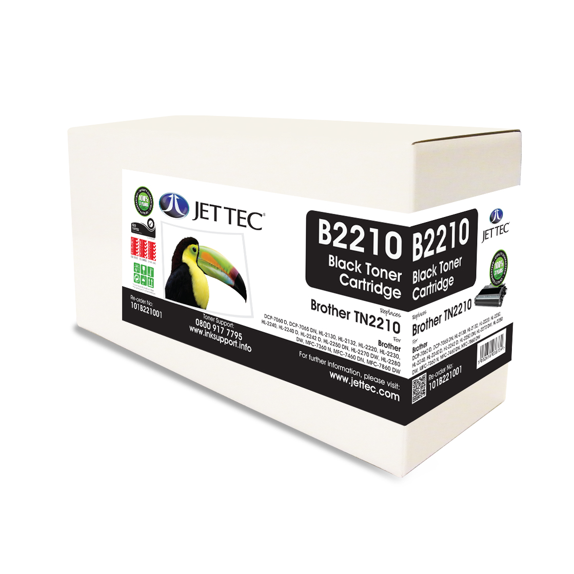 Jet Tec B2210 Brother TN2210 laser toner printer cartridges