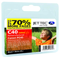 Jet Tec C40 black remanufactured Canon PG-40 inkjet cartridges