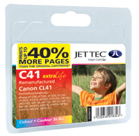 Jet Tec C41 colour remanufactured Canon CL41 inkjet cartridges
