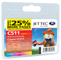 Jet Tec C511 remanufactured Canon CL 511 colour ink cartridges