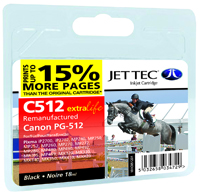 Jet Tec C512 remanufactured Canon PG 512 black ink cartridges