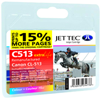 Jet Tec C513 remanufactured Canon CL 513 colour ink cartridges