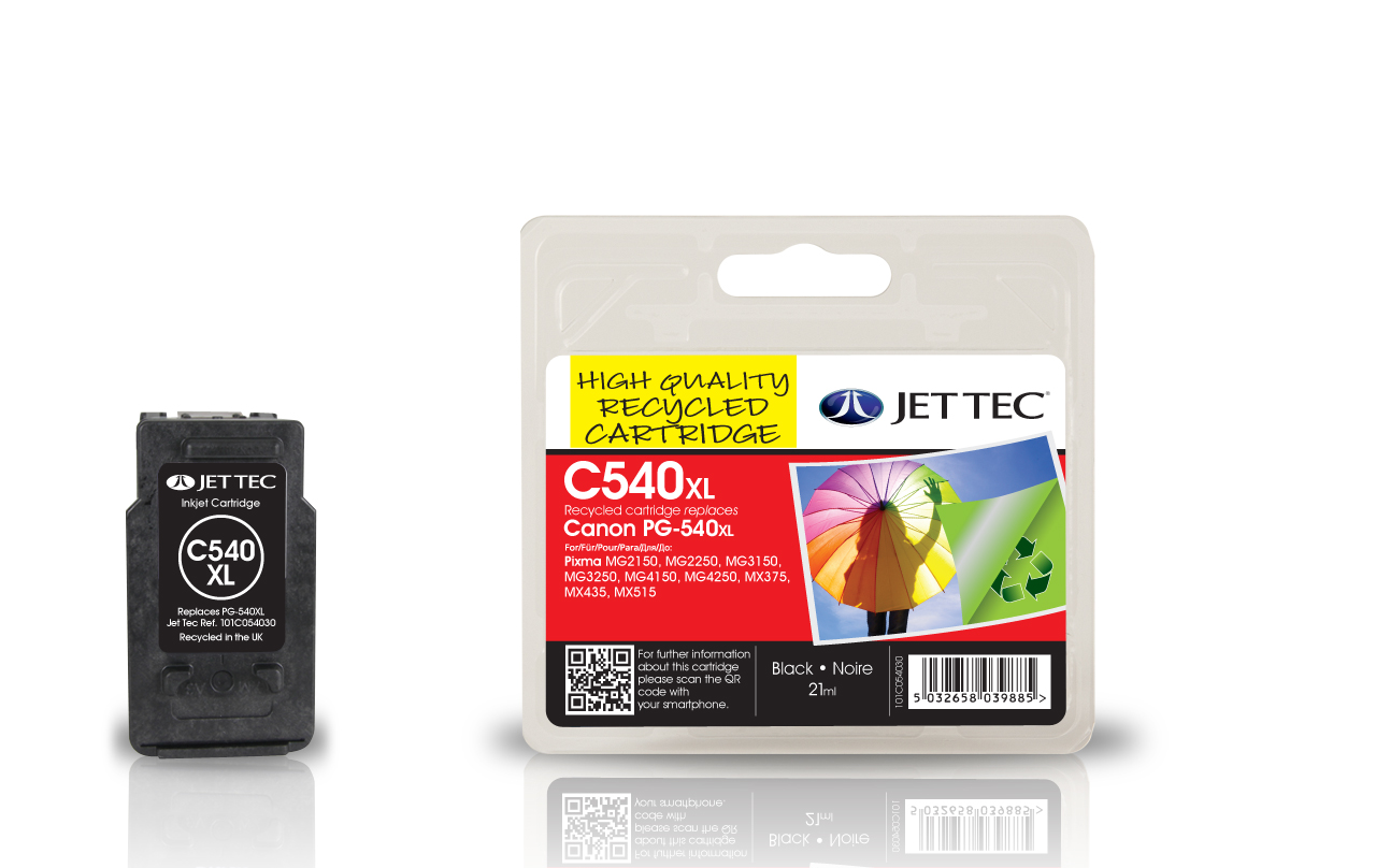 Jet Tec C540XL remanufactured Canon PG-540XL black ink cartridges