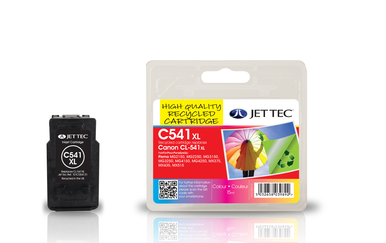 Jet Tec C541XL remanufactured Canon PG-541XL colour ink cartridges