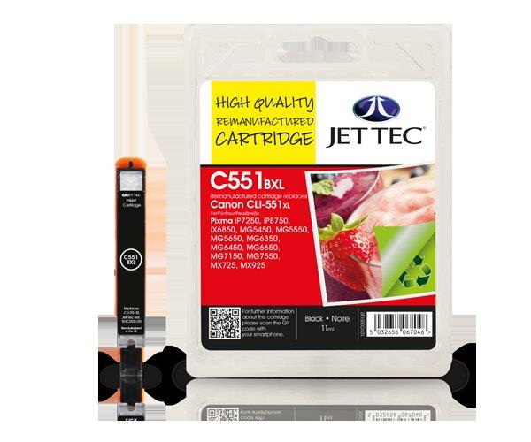 Jet Tec C551BXL remanufactured Canon CLI-551XL ink cartridges