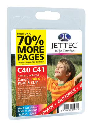 Jet Tec C40 and C41 remanufactured Canon PG-40/CL-41 inkjet cartridges