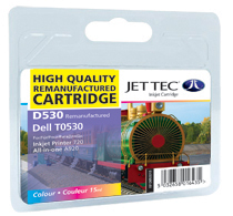 Jet Tec D530 colour remanufactured Dell TO530 ink printer cartridges