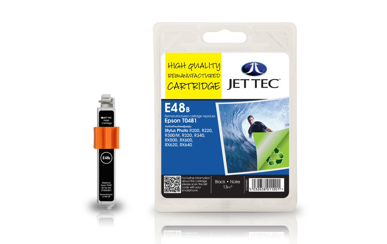 Jet Tec E48B (E92B) black compatible Epson To481 printer cartridges