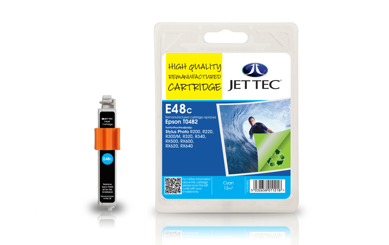 Jet Tec E48C cyan remanufactured Epson T0482 inkjet printer cartridges
