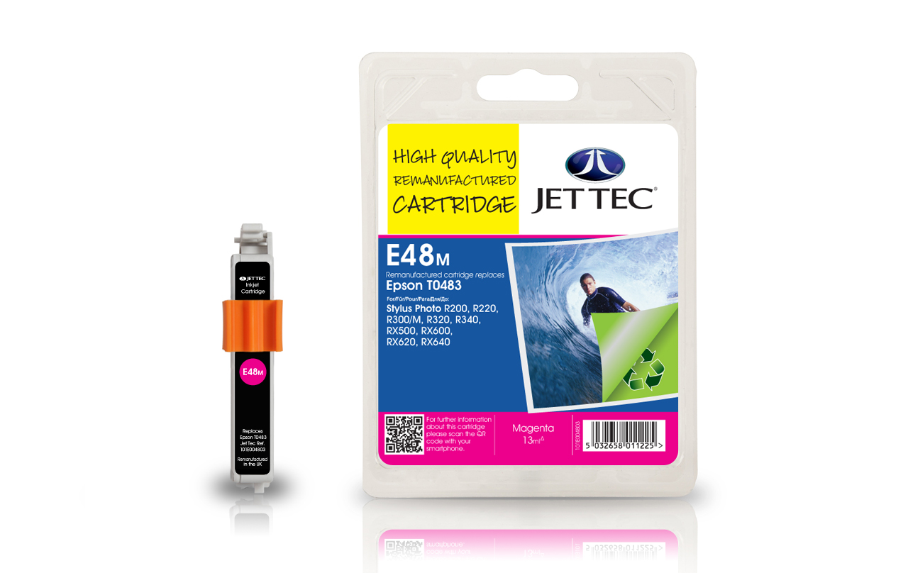 Jet Tec E48M (E92M) magenta compatible Epson To483 printer cartridges