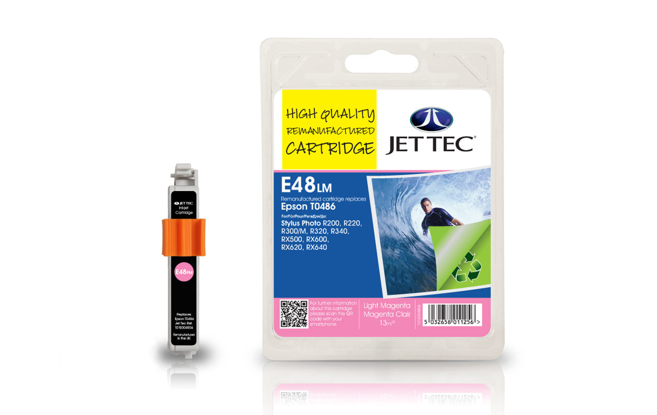Jet Tec E48LM (E92LM) light magenta compatible Epson To486 cartridges