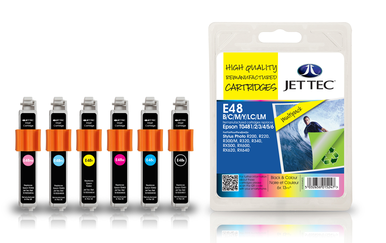 Jet Tec E48MP compatible Epson T0481/2/3/4/5/6 ink printer cartridges