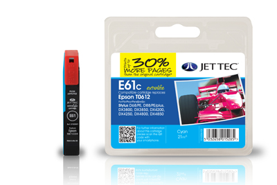 Jet Tec E61C cyan remanufactured Epson T0612 inkjet printer cartridges