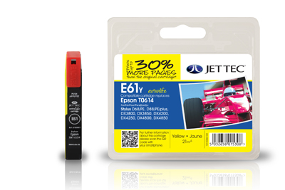 Jet Tec E61Y yellow remanufactured Epson T0614 printer ink cartridges