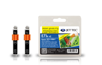 Jet Tec E71B black remanufactured TWIN PACK Epson T0711 ink cartridges