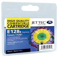 Jet Tec E128B remanufactured black Epson T1281 ink printer cartridges